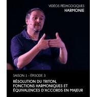 Vidéos pédagogiques - Harmonie - Saison 1 - Episode 3 : Résolution du triton, fonctions harmoniques et équivalences d'accords en